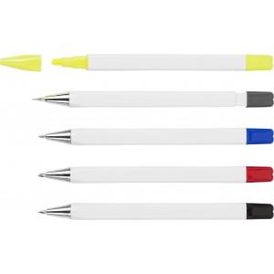 Tolltartó ceruzával, kiemelővel és 3 golyóstollal, műanyag