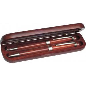CALIFORNIA rózsafa tollkészlet, 2 db-os, kék tollbetéttel