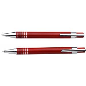 Fém tollkészlet, fekete tollbetéttel, fém dobozban