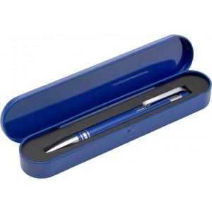 Alumínium golyóstoll, fekete tollbetéttel, fémdobozban
