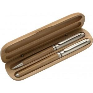 Bambusz tollkészlet fadobozban, kék tollbetéttel